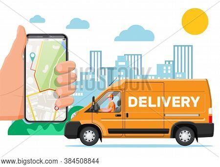 Orange Delivery Van And Smartphone With Navigation App. Express Delivering Services Commercial Truck