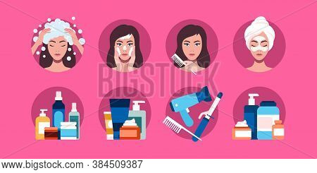 Flat Vector Illustration Of Personal Care Products For Wom N