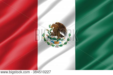 Silk Wavy Flag Of Mexico Graphic. Wavy Mexican Flag Illustration. Rippled Mexico Country Flag Is A S