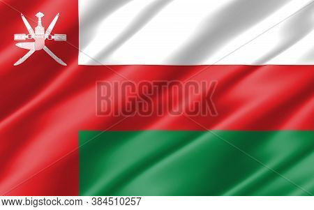Silk Wavy Flag Of Oman Graphic. Wavy Omani Flag Illustration. Rippled Oman Country Flag Is A Symbol