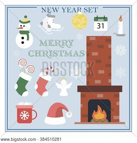 A Set Of Flat Illustrations For New Year And Christmas. Vector Set Of Isolated Images With A Firepla