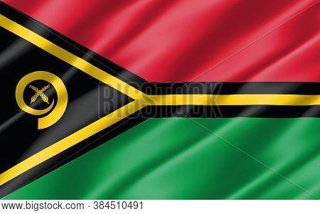 Silk Wavy Flag Of Vanuatu Graphic. Wavy Ni-vanuatu Flag Illustration. Rippled Vanuatu Country Flag I