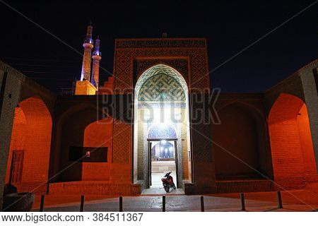 Yazd / Iran - 01 Oct 2012: Jameh Mosque In Yazd At Night, Iran