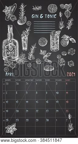 2021 Page Of Wall Vintage Calendar Planner. April Month. Week Starts On Monday. Alcohol Bar Theme. G