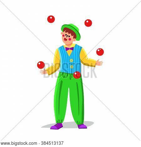 Juggler Clown Juggling Balls In Funny Suit Vector