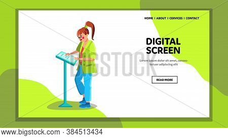 Digital Screen Pos Terminal Touching Girl Vector