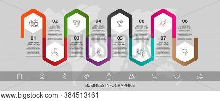 Vector Infographic Template Hexagons For Eight Icons, Diagram, Graph, Presentation. Business Concept