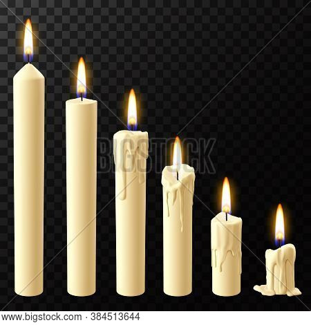 Realistic Burning Candle. Wax Candles Reflow Stages, Holiday Xmas Or Church Burning Wick Candles Vec