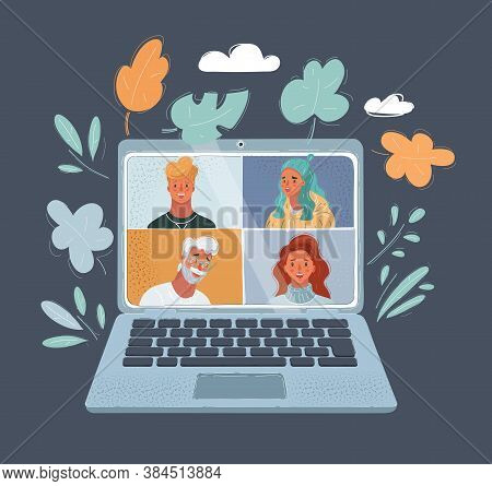 Vector Illustration Of Online Virtual Meetings, Work From Home Teleconference. Human Faces, Man And