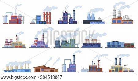 Factory Buildings. Industry Warehouse And Power Station, Manufacturing Factory Building Architecture