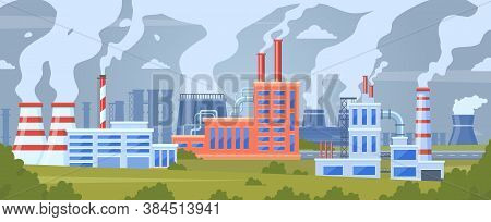 Factory Air Pollution. Industrial Smog Pollution, Polluted Urban Landscape, Chimney Pipe Factory Tox