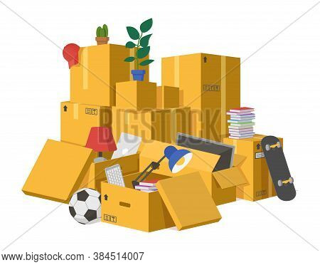 Moving Boxes. Delivery Cardboard Boxes Pile, Stacked Carton Packaging Box With New Home Moving Goods