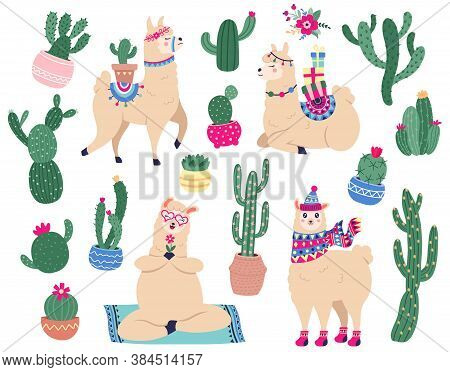 Llamas And Cactus. Mexican Cute Alpaca With Desert Plants, Funny Peruvian Llama Characters With Succ