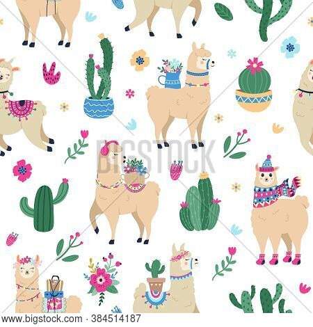 Llama And Cactus Pattern. Cute Seamless Hand Drawn Mexican Alpaca With Desert Cactuses, Peruvian Eth
