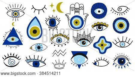 Evil Eye Symbols. Hand Drawn Eyes Talismans, Fatima Hand, Hamsa And Turkish Evil Eye, Sacred Spiritu