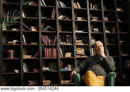 Shooting From Below Of Pensive Bearded Gray-haired Mature Older Male Sitting In Armchair At Home And