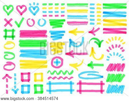 Highlight Markers. Colorful Marker Strokes, Yellow Highlights Arrows, Frames And Check Marks, Green