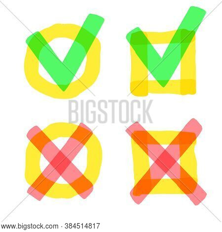 Highlight Marker Check Marks. Check And Cross Highlight Marker Sign, Checklist Marking Logo, Reject
