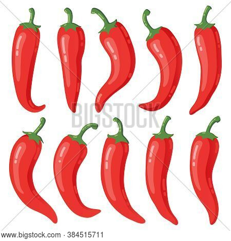 Red Chilli Peppers. Cartoon Hot Red Mexican Peppers, Peppers, Hot Burning Seasoning Vegetable Isolat