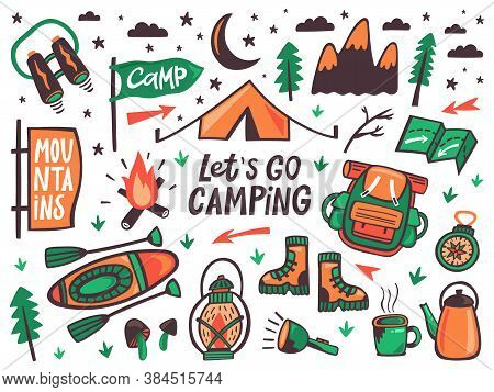 Camping Outdoor Elements. Summer Camp, Hiking Recreation Signs, Kayak, Backpack And Tent, Travel Doo