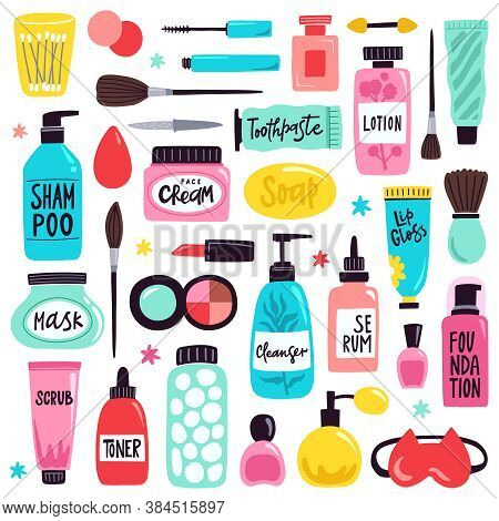 Makeup Skincare Elements. Cosmetics Products, Doodle Visage Tools, Lipstick, Cream, Hand Drawn Skinc