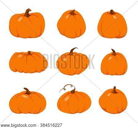 Autumn Pumpkin Flat Icon Set. Cartoon Different Shape Orange Gourd. Symbol Thanksgiving And Hallowee