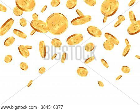 Realistic Falling Coins. Gold 3d Coin Falling Down, Jackpot Dollar Coins Flying, Golden Dollar Coins