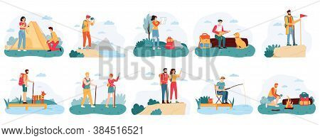 People Hikers. Active Hiking Tourists, Outdoor Activity Camping Trip, Male And Female Tourists Adven