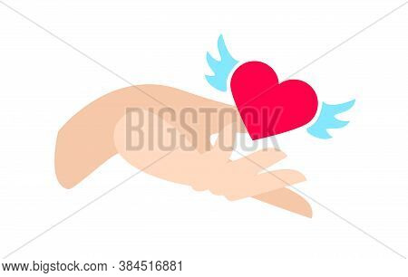 Red Heart With Blue Wings In Hand, Illustration Isolated On White Background. Symbol Of Selfless Gif
