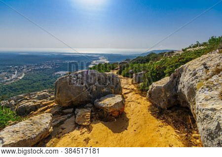 View Of Western Galilee Landscape, With A Footpath And The Mediterranean Sea, In Adamit Park, Northe