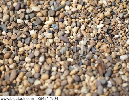Background Of Small Pebbles Round Sea Stones Texture Rocks Material