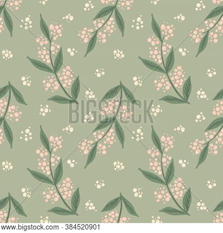 Thick Lavender Field Seamless Vector Pattern. Painted Bulky Lavender Flower In Green Field With Fres