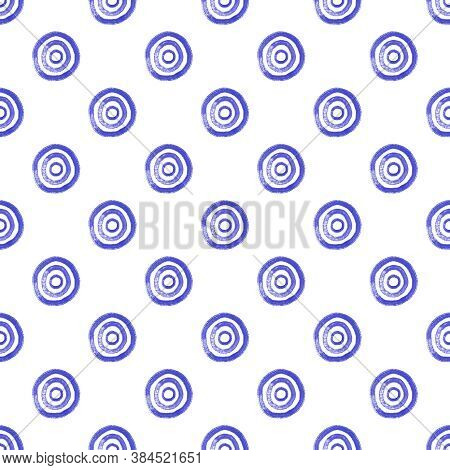 Seamless Ethnic Tribal Watercolor Pattern From Blue Hand Drawn Circles Swirls On White Background. F