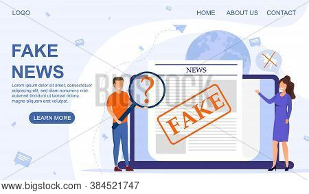 Fake News And Fake Media Concept. Man And Woman Carefully Studing The Text Of A Newspaper Article On