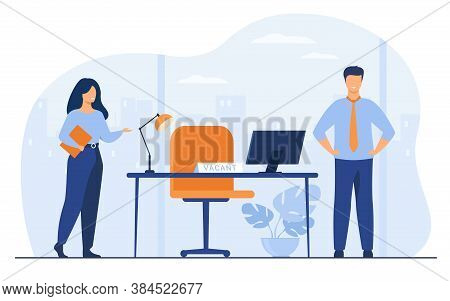 New Employees Requiring In Office For Work Isolated Flat Vector Illustration. Cartoon Hr Manager Hir