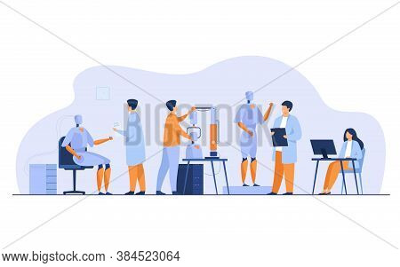 Scientists Making Robots In Lab Isolated Flat Vector Illustration. Cartoon People Creating Computer