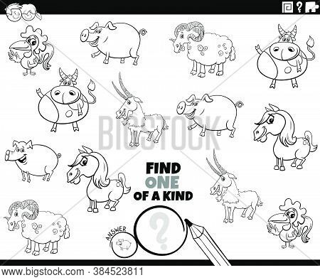 Black And White Cartoon Illustration Of Find One Of A Kind Picture Educational Game With Comic Farm