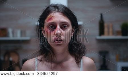 Portrait Of Woman Having Pain Because Of Alcoholic Man. Traumatised Abused Terrified Helpless, Vulne