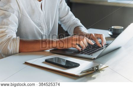 Closeup Woman Hands Typing On The Keyboard Using Laptop While Working Or Study From Home Education O