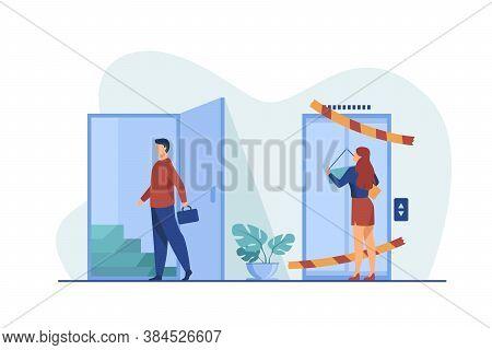Woman Suffering From Gender Discrimination. Man Entering By Open Door Flat Vector Illustration. Care