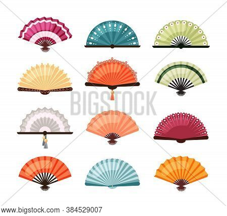 Asian Fans Set. Traditional Oriental Decoration Colorful Designs Red Orange Japanese Accessories And