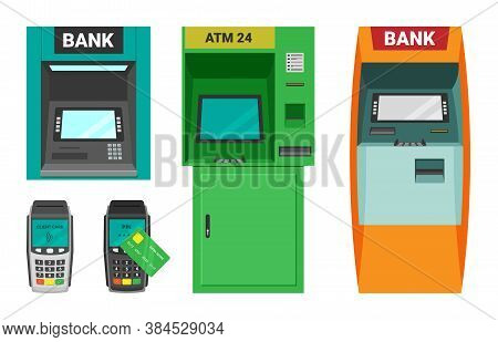 Atm Machine And Cash Terminal Set. Device For Accepting Dispensing Cash Transactional Card Payments