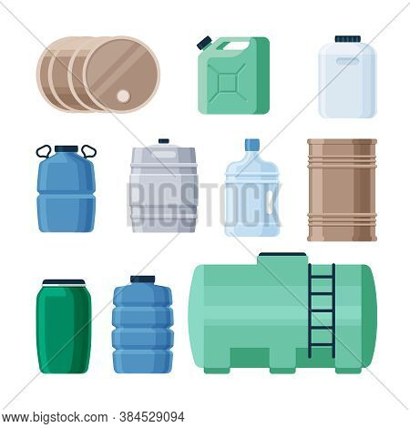 Plastic And Iron Containers Liquid Set. Production Barrels For Storing Gasoline Oil Green Canister W