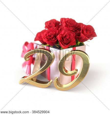 Birthday Concept With Red Roses In Gift Isolated On White Background. Twenty-nineth. 29th. 3d Render