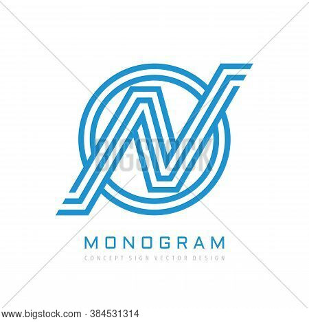 Monogram N Letter - Concept Logo Template Design. Initial Monogram N Logo In Circle Shape. Vector Il