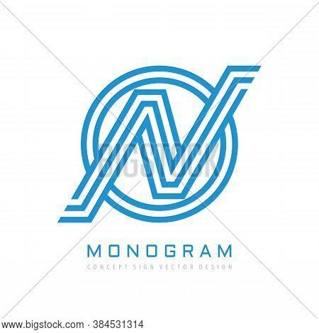 Monogram N Letter - Concept Logo Template Design. Initial Monogram N Logo In Circle Shape. Vector Il