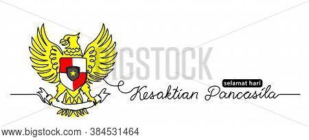 Kesaktian Pancasila Selamat Hari, Means Happy Pancasila Day. Simple Vector Web Banner, Background. O