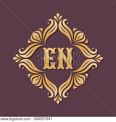 Monogram En Letters - Concept Logo Template Design. Crest Heraldic Luxury Golden Emblem. Initial E &