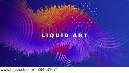 Blue Flow 3d Liquid Shapes. Vector Digital Design. Fluid Graphic Pattern. Colorful Creative Motion.