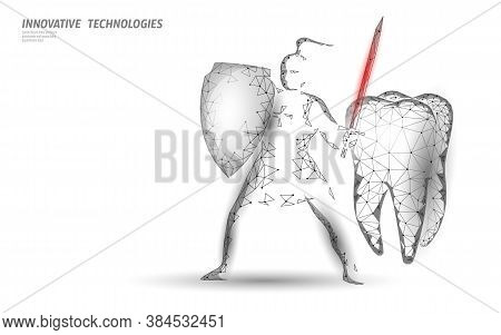 Low Poly Tooth Protection Medical Concept. Cavity Prevent Shield Toothpaste. Enamel Reconstruction H